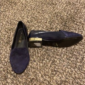 Leather and Suede with gold heel flats